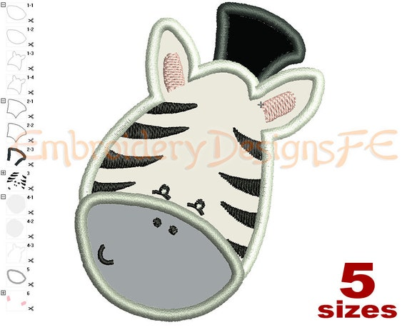 Zebra face applique design sizes machine embroidery