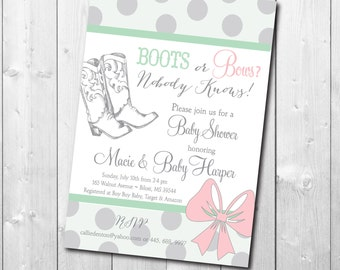 Boots or Bows Gender Reveal Invitation Baby Shower printable/Digital File/cowboy, cowgirl, mint, gray, he or she, couples shower invitation