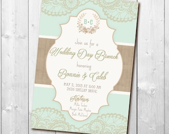 Wedding Day Brunch Invitation printable/Digital File/Brunch invitation, Wedding Brunch, Brunch with the Bride/Wording &colors can be changed