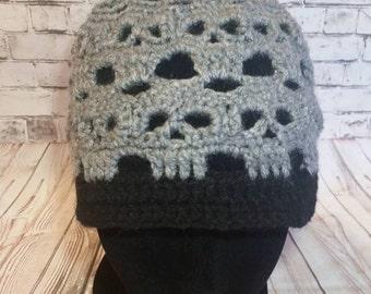 Skull beanie / Skull Boot cuffs / Beanie and boot cuff sets / Crochet skull beanie / Crochet beanie / Crochet boot cuffs