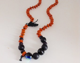 OOAK Orange And Black Beaded Necklace, Eco-Friendly Accessories, Modern Jewelry, Recycled Handmade