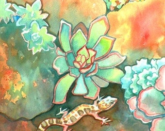 Banded Gecko Lizard in Succulent Garden/ Southwest Reptile Watercolor Limited Edition Giclee