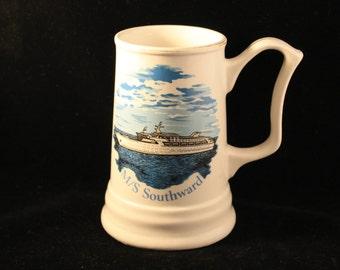 Vintage M/S Southward Ship/Yacht Tankard/Stein/Mug Nautical, Ocean, Boating