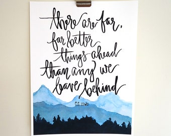 Hand Lettered & Watercolor Art Print C.S. Lewis Quote