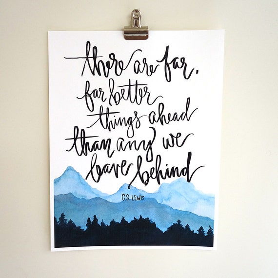 Cs Lewis Quotes New Beginning: Hand Lettered & Watercolor Art Print C.S. Lewis Quote