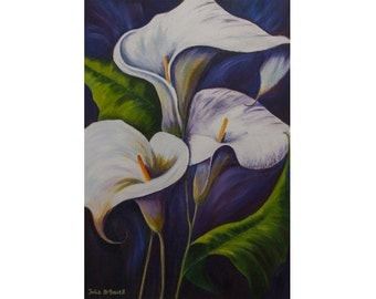 Wall art Navy White Lilies painting Poster Print White flower Large Bedroom Living room Giclee print Home decor Calla lilies Dining artwork