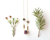 Rough Ruby + Unakite Gold Filled Necklace with Brass Beads | Earthy Natural Gemstone Necklace
