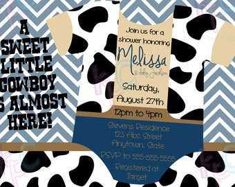 "Onesie Cowboy 5""x7"" Printable Western Baby Shower Invitation Blue Chevron Cow Print {Digital File Only}"
