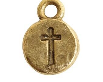Nunn Design® Itsy Cross Charm Antique Gold (2)