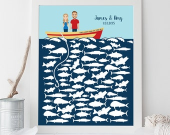 Nautical Guest Book Alternative Poster DIY / Nautical, Ocean Fishing, Custom Portrait, Personalized Couple on Boat, Fish▷ Printable PDF