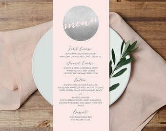 Silver Menu Card / Custom Wedding Menu / Metallic Silver and Blush Pink / Blush and Gray ▷ Printable File {or} Printed & Shipped