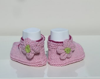Baby Sandals, Pink Baby Shoes, Baby Girl Booties, Pink Crib Shoes, Flower Booties, Cotton Booties, Hand Knit Booties, Christening Shoes