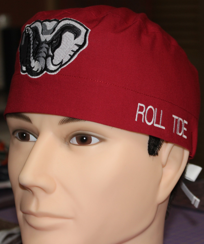 Custom Embroidered University Of Alabama Scrub Chemo Skull