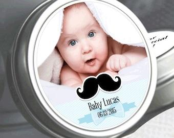 12  My Little Man Mustache Baby Shower Photo Mint Tin Favors  - Baby Shower Favors - 1st Birthday Favors - Photo Mint Tins - Baby Favors