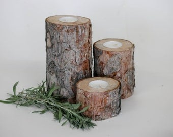 Set of 3 Pine Tea Light Candle Holders, Wedding Centerpieces, Rustic Wedding Decor, Candle Holder, Rustic Candle Holder.