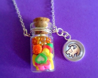 Disney The Lion King Hakuna Matata Simba Glass Bottle Pendant Necklace