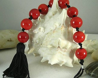 Red Glass Bead Tenner with Tassel - Chaplet - Paternoster - Zhener