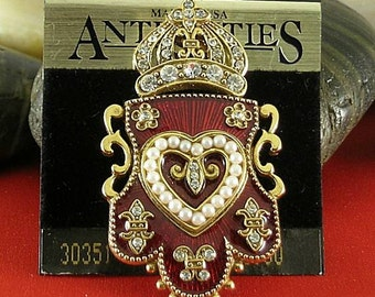 Vintage Antiquities Crown Shield Brooch - Elizabethan Renaissance - Victorian