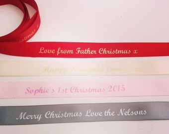 Personalised Christmas Ribbon 15mm 1 metre