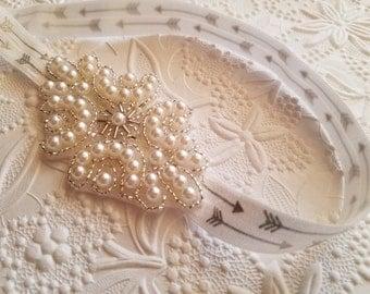 Pearl and Silver Headband, Pearl Headband, Baby Pearl Headband, Wedding Headband, Baptism Headband, White Headband