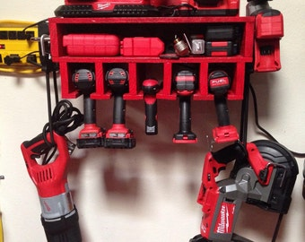 Custom Garage Power Tool Rack With Shelf - One of a Kind - Great Christmas Gift Idea and Great for Garage Organization!