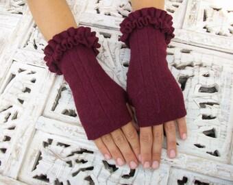 Bordeaux Fingerless Gloves / Mittens, Warm Winter Mittens, Boiled Wool Mittens, Designer Mittens by Nana Bugler