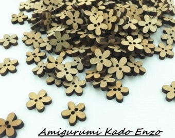 100 wooden flower buttons