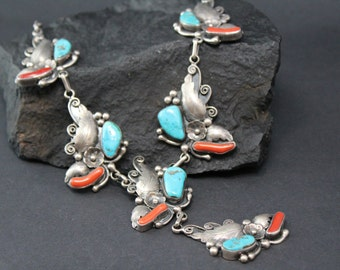 Sterling Silver Signed  RBP Beautiful Old Pawn Turquoise and Coral Native American Navajo Leaf Necklace