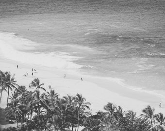 Vintage Surf Photography, Hawaii Print, Black and White Beach Photo, Retro Wall Art, Hawaii Surfers, Palm Trees, Beach Landscape