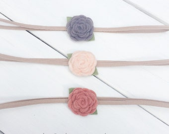 Felt Flower Headband, Baby Headband Set, Cream Flower Headband, Flower Headband, Gray Felt Flower, Newborn headband, Infant Headband