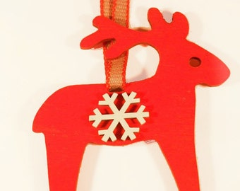 Wooden Nordic Reindeer Christmas Tree Decoration