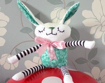 CUSTOM BUNNY! Handmade plush, green and white - Children's/Infant Toy