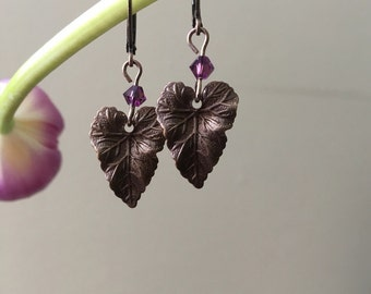 Natural brass leaf earrings