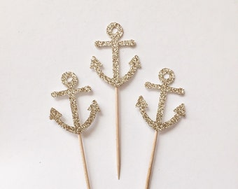 Champagne Glitter Anchor Cupcake Toppers (Set of 24) - Nautical Theme - Engagement - Shower - Birthday - Wedding - READY TO SHIP