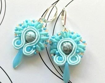 Pastel Blue Earrings, Tiny Earrings, Light Blue Soutache, Small Earrings For Girl, Wedding Jewelry, Bridesmaid Earrings, Romantic Gift Idea