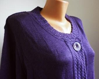 Large elegant purple ladies vest, wool women cardigan, waistcoat elegant, vintage clothes boutique