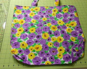 Purple and Yellow Flower Tote Bag