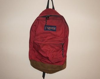 Vintage 90s Leather Bottom Jansport Red Backpack Made in USA Classic School Bag