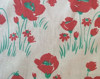 Vintage curtains. Poppy print.
