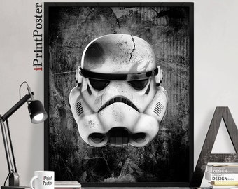 Stormtrooper, star wars, print, poster, star wars helmet, star wars galactic empire, Illustration, boyfriend gift, Wall art, iPrintPoster
