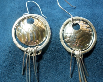 Sterling Silver Patterned Stringer-Drop Earrings