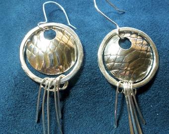 Sterling Silver Patterned Stringer-Drop Earrings