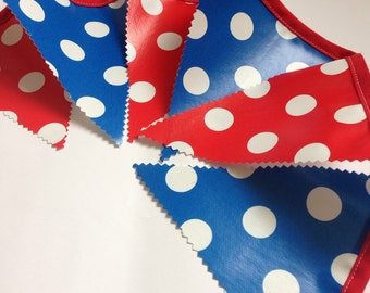4th July bunting/ banner, Red and blue bunting, Waterproof bunting banner, outdoor bunting, oilcloth/pvc bunting/ banner