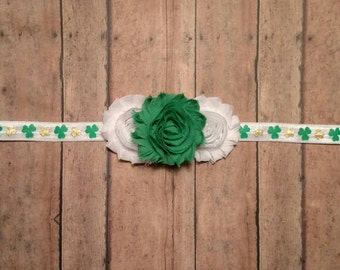 Green, gold and white shamrock St. Patrick's day headband for baby, toddler and adult