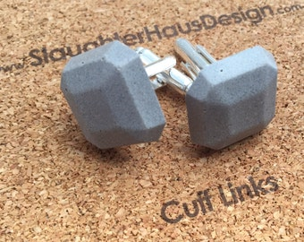 Faceted Square Cufflinks Concrete Silver Plated