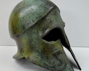 Helmet Snake carved solid bronze Ancient Greek real size great helmet
