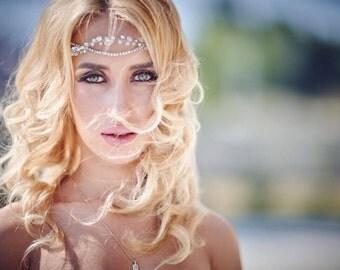 Bridal Hair Vine, Bridal Headband, Crystal Chain Headpiece, Wedding Headband,Wedding Hair Accesories, Wedding Tiara, Wedding Hair Jewelry