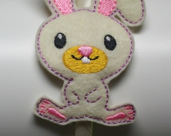 Cute Bunny slider headband, Hair accessory, Felt headband, Embroidered headband