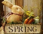 Primitive Rabbit  Spring Vintage box Easter Cupboard tuck HAHA Hafair Faap