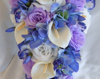 Bridal wedding cascade bouquet, lavender and  blue calla lilies,roses and hydrangea 17 pieces teardrop style
